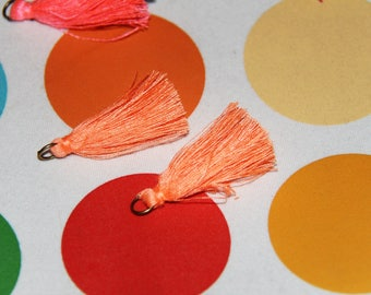 The 2 tassels pendants bronze orange salmon with ring