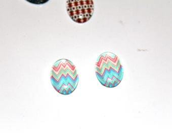 The cabochon oval 18x13mm illustration 2 - ethnic blue and light pink