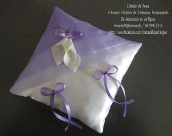 White satin and organza purple pillow with lilies