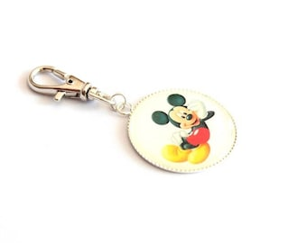 "Zip grigri Tirrette ""Mickey"" for coat case school bag or keychain"
