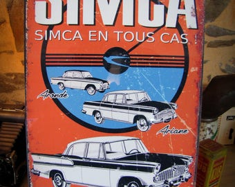 Plate metal decor 40 x 28 cm, SIMCA ariane, dovetail joints, Star