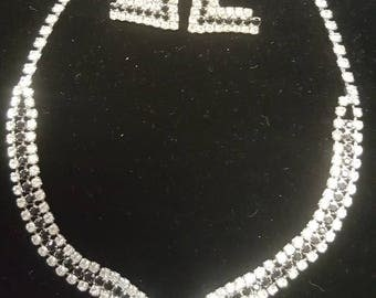 Black Faux Diamond Necklace and Earing Set