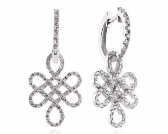 Eternity Earrings, 14K - 18K Gold +01.00 Ctw (each 0.50 ct)Diamonds