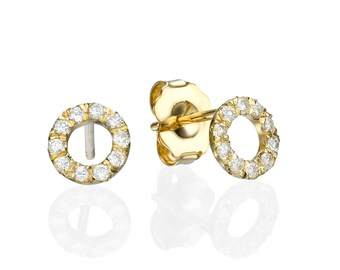 Round Earrings, 14K - 18K Gold + 0.18 Ct Diamonds