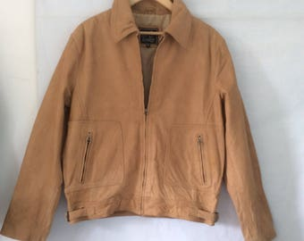 Mens leather bomber jacket 80s beige hipster style zip up chest size 42