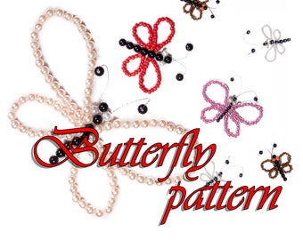 PATTERN, 10 easy steps how to make jewelry butterfly,Butterfly beaded DIY by LoveKnittings
