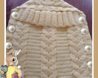 Crocheted baby cocoon, sleep sack, sleeping bag, wrap, blanket