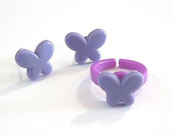 Dress children girl: stud earrings and ring ° ° Purple Butterfly