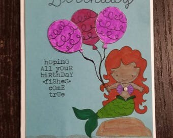 Mermaid birthday card, happy birthday mermaid, always be a mermaid, hope all your birthday fishes come true
