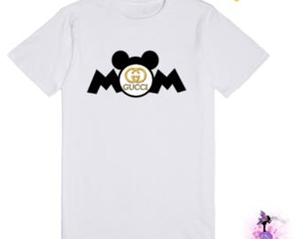 Minnie Mouse or Mickey Mouse Gucci MOM T-Shirt / Birthday Party Keepsake | Designer Inspired | Custom Shirt
