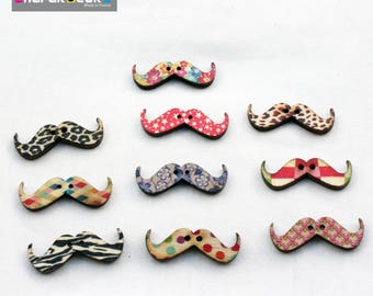 set of 10 buttons Wood Mustache 11 mm * 30 mm 2 holes button printed various pattern