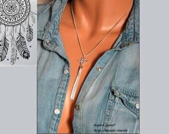 """Necklace silver Sterling 925 """"original"""" fine mesh adjustable removable pendant"""