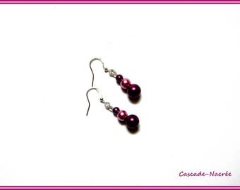 Plum pink bridal wedding Pearl Earrings Pearl