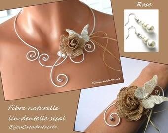 Pearl Rose linen sisal Pearl foil Butterfly lace wedding dress