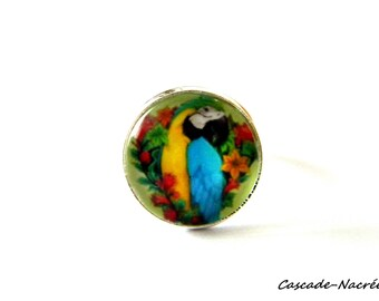 ring cabochon turquoise Parrot bead silver photo glass Dome