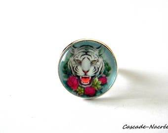 ring cabochon Tiger Blue Pearl silver photo glass Dome