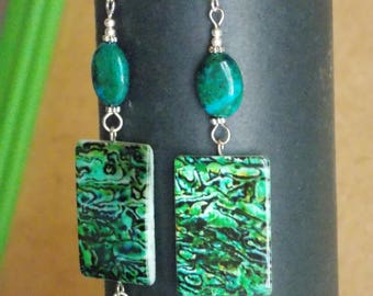 Modern earrings green with stones and mother of Pearl