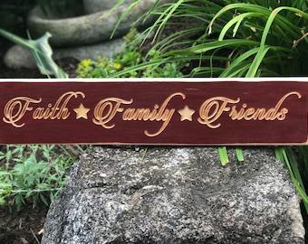Faith Family Friends Wood Carved Sign