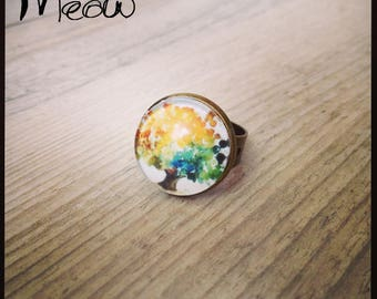 "Bronze ""Watercolor"" ring in shades of green"