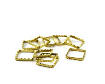 10 charms gold square connectors stylized brass 10x10mm