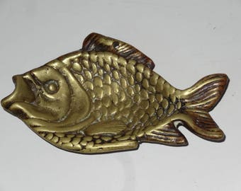 Brass Fish Wall Plaque or Ashtray Brass Vintage