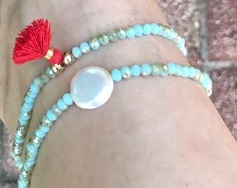 Pearl Ankle bracelet with a tassel, summer ankle bracelets,