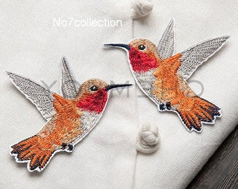 1Pair of Hummingbird Embroidered Patches