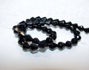 Black Onyx Teardrop 8 by 8 mm faceted. Semi-precious stones.