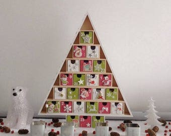 Wooden - 24 advent calendar boxes to fill - pink and green