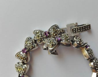 Vintage bracelet with amethysts and Marcassiti in silver 925