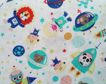 ANIMALS IN BLUE SPACE COTTON FABRIC AND TURQUOISE WHITE BACKGROUND