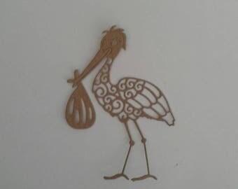 6 brown Kraft card die cut stork holding bundle - card making, papercraft, scrapbooking -  birth, pregnancy, new baby, baby shower