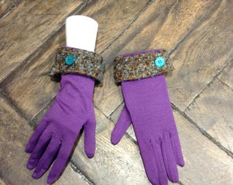Purple gloves Sweatshirt fleece and Brown Blue tweed back