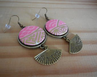 Fabric earrings Japanese and fan