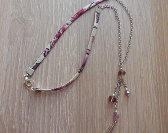 Liberty necklace, chain and purple beads with charm feather
