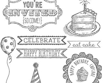 Stampin UP Sketched Birthday Clear Block Rubber Stamp  Set