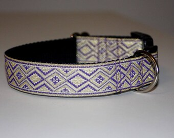 "Dog Collar Jacquard Ribbon Elegant ""Violet""  Design"