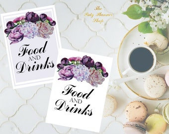 Food and Drinks Sign 8x10 and 5x7 size Printable PDF, Peonies Floral Watercolor, Bridal Shower Sign, Wedding Reception Sign, Printable PDF