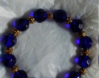 Blue and gold Unique Beaded Bracelet