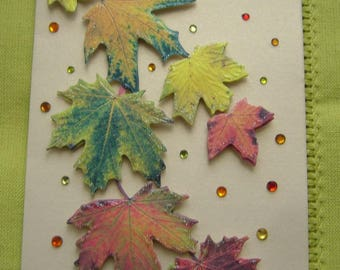 Hand made greeting card 3 D leaves of fall and rhinestones - metallic beige background - matching envelope