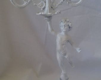 weathered candle holder, 3 branches model Cherub