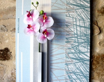 Light blue and white floral painting with Orchid