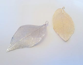 Leaves fall leaf dipped in metal genuine