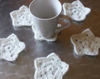 set of 6 saucer / coaster crochet star shape