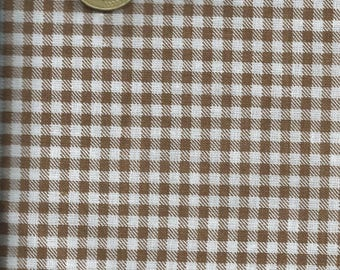 Fabric gingham Brown & white (coupon 45x45cm) 100% fine cotton