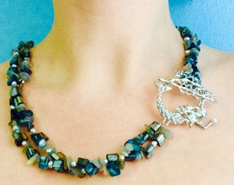 Mermaid focal clasp two stranded necklace with fresh water pearls, mother of pearl and labradorite chips