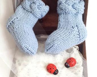 BLUE NEWBORN SOCKS/ Merino wool socks/ Handmade baby socks/ Baby booties/ Baby newborn gift/ Newborn baby clothes/ Girls socks/ Boys socks
