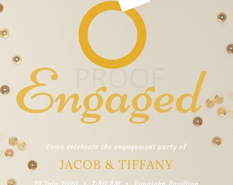 Gold Diamond Ring Engagement Party Invitation (CUSTOMIZABLE) DIGITAL DOWNLOAD