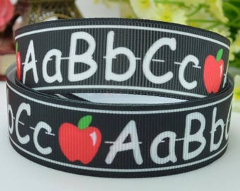 "ABC Back To School Grosgrain Ribbon 7/8"" Ribbon By The Yard Holiday Alphabet Ribbon Hair Bows Gift Bows Craft Supply #6"