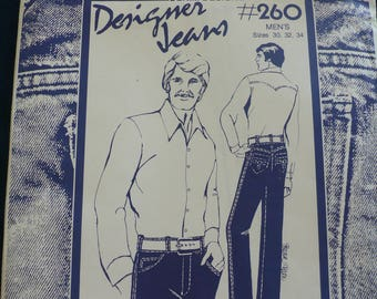 Men's Jeans, Designer Jeans Pattern - Vintage sewing pattern 260 by Sharon Marie Studios - Sizes 30-34